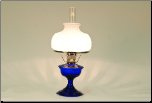 Alexandria Glass Table Lamp, Cobalt BLUE with Opal #7 Shade