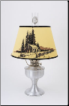 "Brushed Aluminum Aladdin Table Oil Lamp w/ 14"" Log Cabin Parchment Shade"