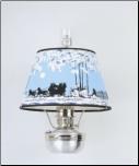 "Brushed Aluminum Aladdin Oil / Kerosene Shelf wall bracket Lamp with  14"" Coach winter scene Parchment Shade"