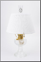 "Clear Crystal Aladdin Lincoln Drape Oil Lamp w/ 14"" White Pleated Shade (Brass Hardware ) (USA) (SKU: C6192-110W ** Shade Limited Supply **)"