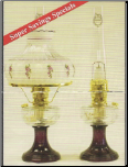 Clear / Amethyst (purple) Lincoln Drape Aladdin Oil / Kerosene Lamp with Shade & Ring  *C6182-752 *  (SET) - Brass   (USA)