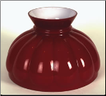 "Classic Aladdin Oil Lamp  Glass Shade 10"" Styles ""RED  Melon"" Hand Blown Glass."