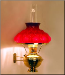 "BW225-202 Deluxe Brass CLASSIC Wall Bracket Aladdin Lamp with Red artichoke 10"" glass shade"