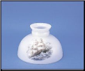 "Classic Aladdin Oil Lamp Glass Shade 10""Opal Student Sailing Clipper (SKU: M543)"