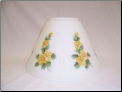 "Classic Aladdin Oil Lamp  Glass Shade 14""  Hanging ""Slant"" Opal with Buttercups ** ONE LEFT then RETIRED  ** **Hand Painted** (SKU: N717)"