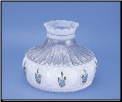 "** 1 in stock then Back Ordered **  Classic Aladdin  Oil Lamp Glass Shade 10"" Crystal Blue Rose (SKU: M750)"