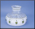 "Classic Aladdin  Oil Lamp Glass Shade 10"" Crystal Green Rose  **  BACKORDERED ** (SKU: M756   ** TWO LEFT then  BACKORDERED **)"