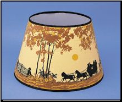 "Parchment Aladdin Oil Lamp Shade 14"" Decorated "" Coach and Four Horse (Autumn Scene) (SKU: N144-01)"