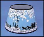 "Parchment  Aladdin Oil  Lamp Shade 14"" Decorated ""Coach and Four Horse (Winter Scene)"