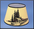 "Parchment Aladdin Oil Lamp Shade 14"" Decorated ""Log Cabin"" *** (SKU: N209)"