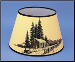 "Back Ordered ** Parchment Aladdin Oil Lamp Shade 14"" Decorated ""Log Cabin"" ***"