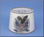 "Parchment  12"" Aladdin Oil Lamp Shade - Flag w/Eagle In Silver  ** being retired * Limited supply"