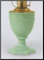 Green Moonstone Aladdin Oil / Kerosene Florentine Vase Lamp ** Choose from Jadite Green Moonstone, Blush Pink or Beige Cream *** (SKU: F2304 G_ P_ A)