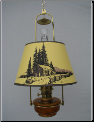 "Brown HONEY AMBER Translucent Classic Tilt Frame Aladdin Oil Lamp w/14"" Log Cabin parchment Shade (SKU: BH815-209)"