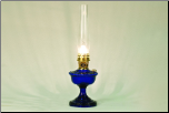 ALEXANDRIA Aladdin Oil  Lamp ** COBALT BLUE Glass **  *BRASS*  hardware (Lamp Only - no shade)  **