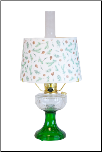 Clear / Emerald (green) Lincoln Drape Aladdin Lamp with Pine Bough Shade (Brass OR Nickel)