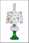 Clear / Emerald (green) Lincoln Drape Aladdin Lamp with Holly Shade (Brass OR Nickel)