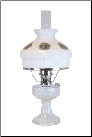 C6192 N Clear Lincoln Drape Aladdin Oil / Kerosene Lamp w/ Gristmill glass shade   - Nickel (USA)