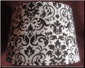 100007302 Black & White damask parchment Shade (SKU: Damask Aladdin Shade)
