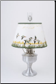 "Brushed Aluminum Aladdin Table Oil Lamp w/ 14"" Duck  Parchment Shade (SKU: A2310-388)"
