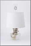 "Genie III Aladdin Shelf Oil Lamp (CLEAR) glass --  with s100 white 12"" parchment shade  (Nickel)"