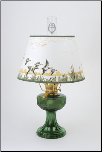 "TWO left then SHADE RETIRED ** Emerald (green) Aladdin Lincoln Drape Oil Lamp w/ 14"" Ducks Parchment Shade (Brass Hardware ) (USA)"