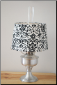 A2310 Brushed Aluminum Aladdin Table Lamp with Damask Black & White shade (SKU: A2310-BLK)