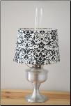 A2310 Brushed Aluminum Aladdin Table Lamp with Damask Black & White shade