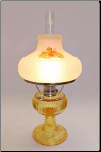 "Grand Vertique ""Honey Amber""  Table Lamp NICKEL"" SET with hand painted shade with MUMS   (Limited Edition)"