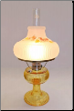 "Grand Vertique ""Honey Amber""  Table Lamp NICKEL"" SET with hand painted shade with Fall Oak leaves  (Limited Edition) (SKU: **** GRAND Vertique Honey Amber Table lamp w / oak leaf ****)"