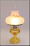 "Grand Vertique ""Honey Amber""  Table Lamp NICKEL"" SET with hand painted shade with Fall Oak leaves  (Limited Edition)"
