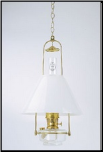 "Clear Classic Tilt Frame Hanging Aladdin Oil / Kerosene Lamp with 14"" Opal Slant Glass Shade**"