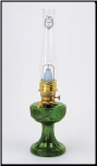 C6198  WITH  Hand painted IVY shade 100007012  Emerald (green) Lincoln Drape Aladdin Lamp (Brass OR Nickel)
