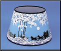 "Parchment  Aladdin Oil  Lamp Shade 14"" Decorated ""Coach and Four Horse (Winter Scene) (SKU: N144-02 ** LIMITED then RETIRED **)"
