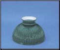 "Classic Aladdin Oil Lamp  Glass Shade 10"" Cased Rib Green (SKU: N301)"