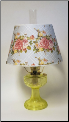 "*** 2 LEFT THEN BACKORDERED *** Vaseline Lincoln Drape Table Lamp w/ 14"" Lattice Rose Parchment Shade Brass or Nickel (SKU: Vaseline w/ lattice shade Brass)"