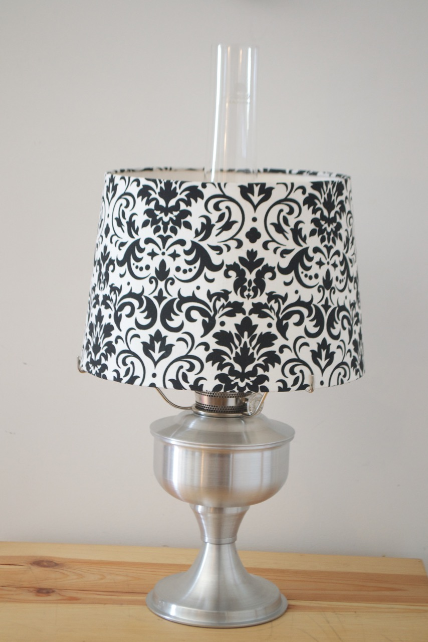 Brushed aluminum aladdin table lamp with damask black white shade a2310 brushed aluminum aladdin table lamp with damask black white shade geotapseo Image collections